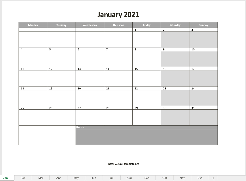 Monthly Calendar For 2021 [Free Excel Template]