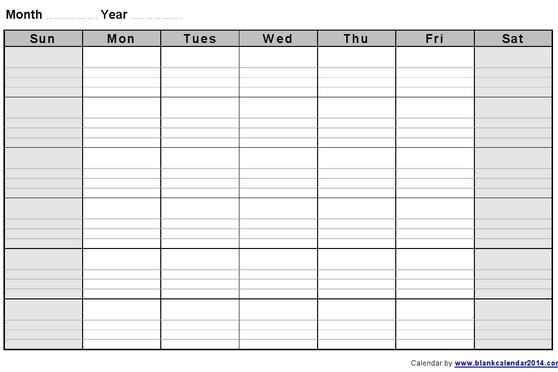 Monthly Empty Calendar To Fill In :-Free Calendar Template