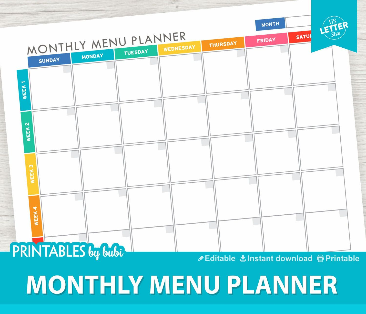 Monthly Meal Planner Printable / Editable - Instant