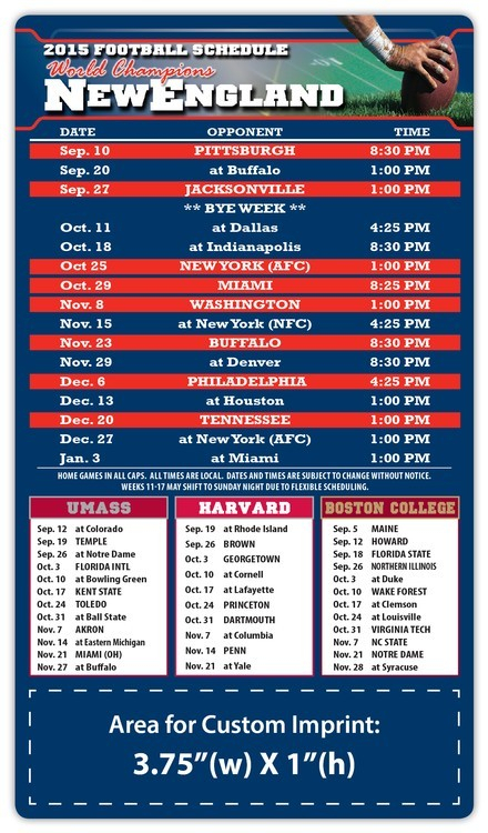 """New England Patriots Pro Football Schedule Magnets 4"""" X 7"""
