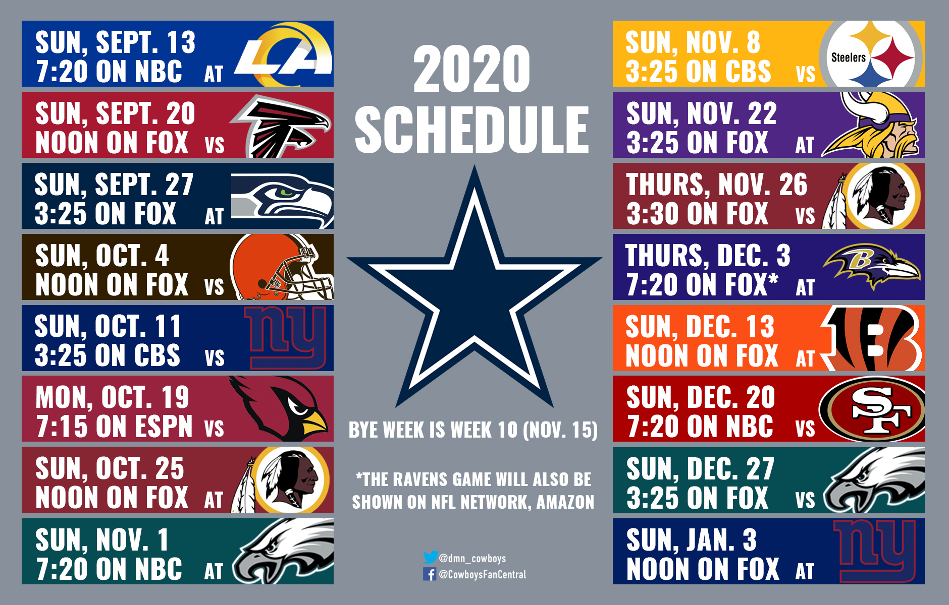 Nfl Football Schedule 2020 Printable