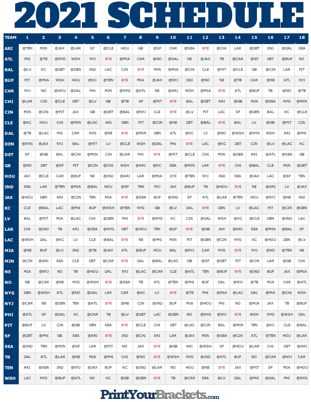 Nfl Full Season Schedule Grid 2020 - Printable