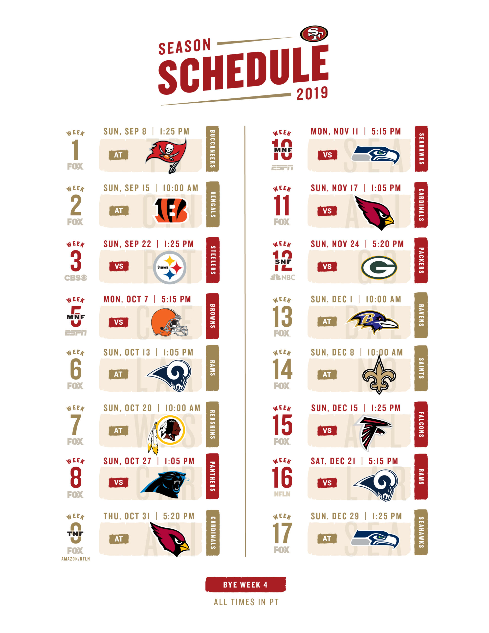 Nfl Schedule 2020 Printable