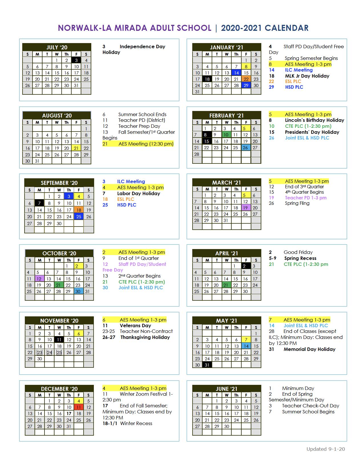 Nlmas 2020-2021 Master Calendar - Resources - Norwalk-La
