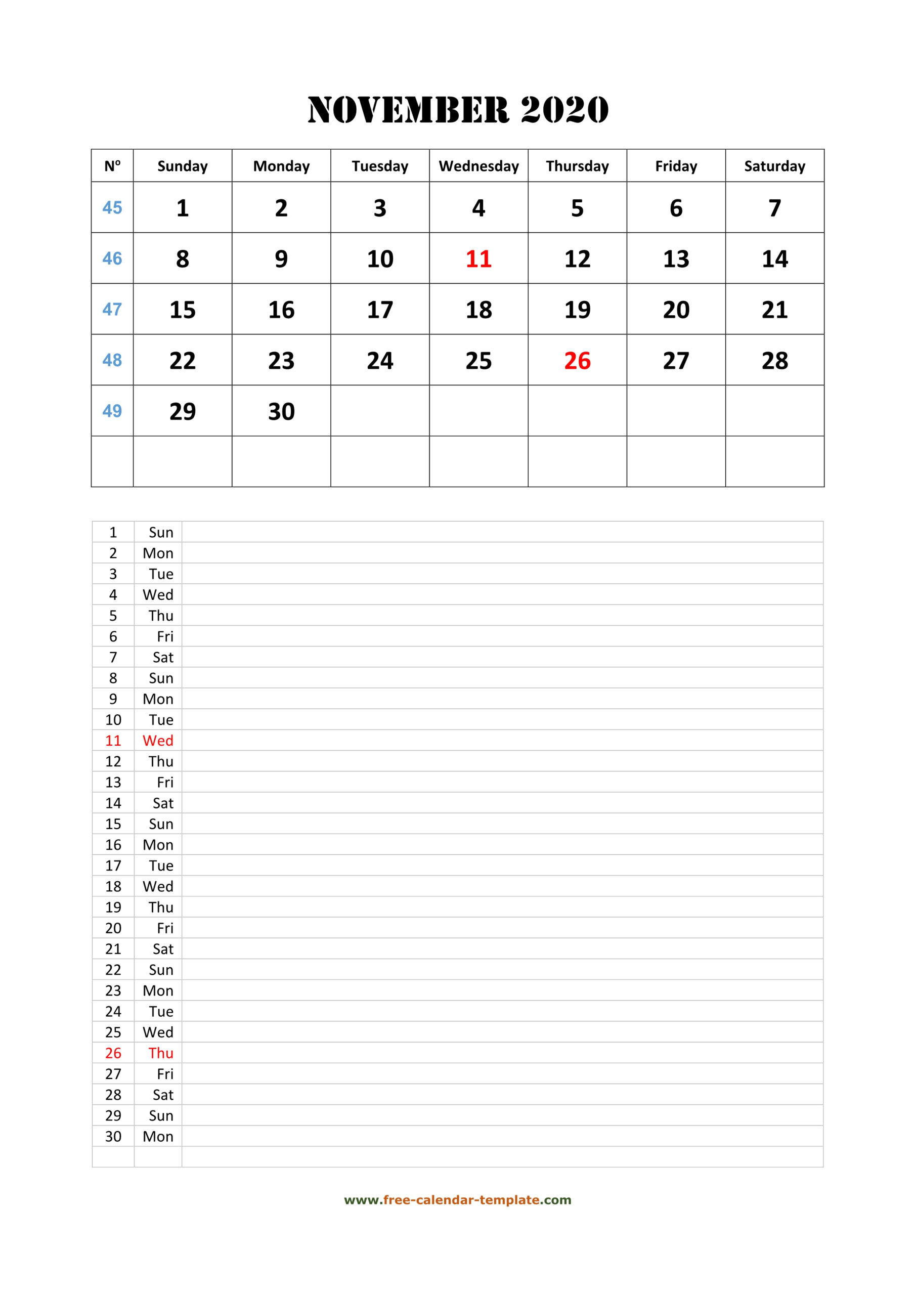 November 2020 Free Calendar Tempplate | Free-Calendar