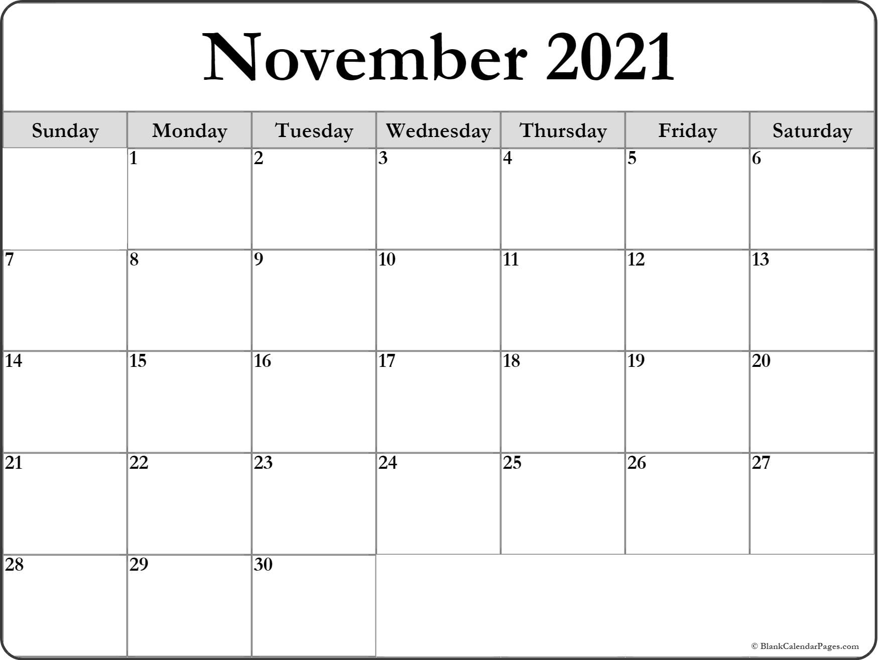 November 2021 Blank Calendar Templates.