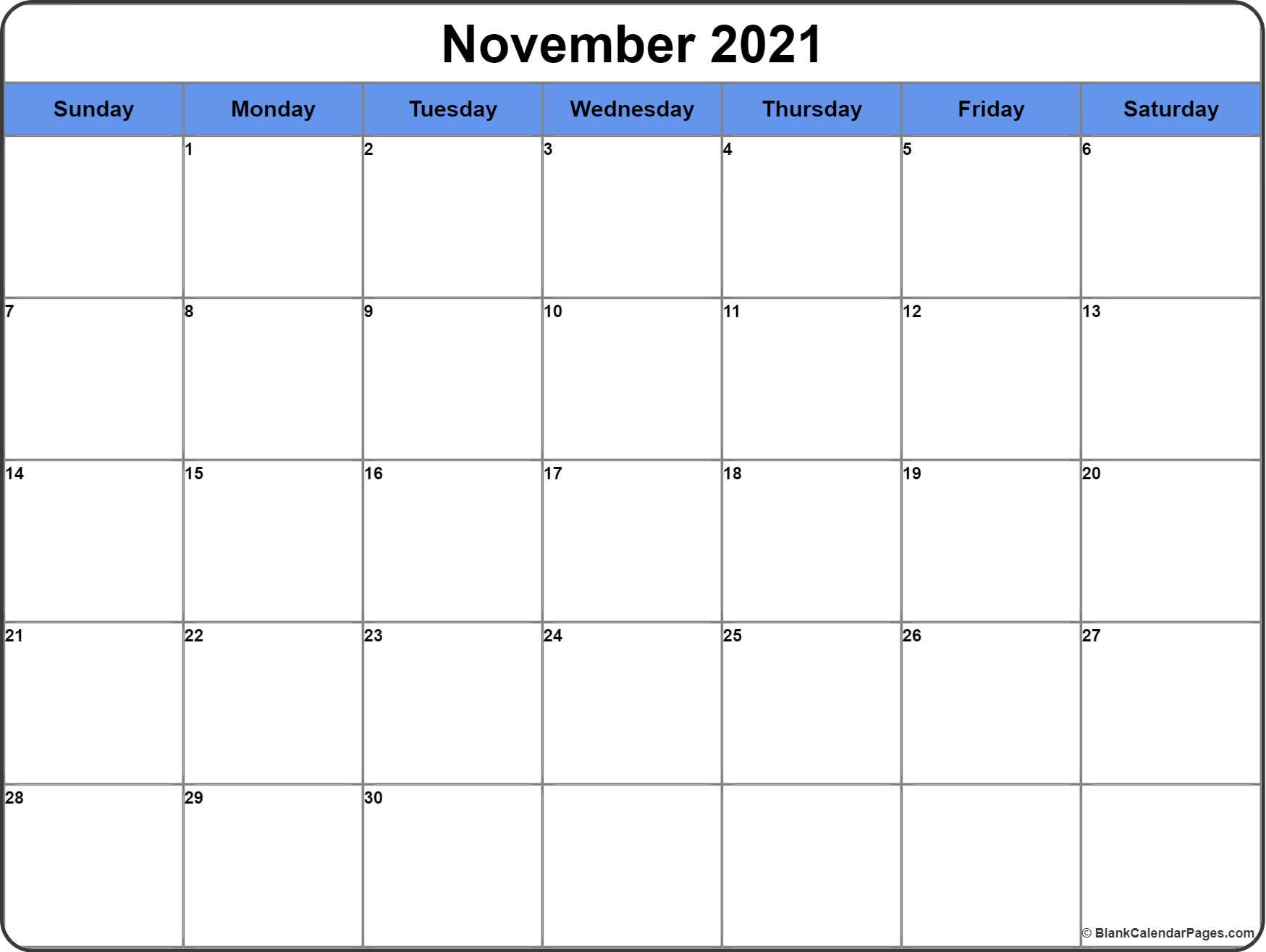 November 2021 Calendar | 56+ Templates Of 2021 Printable