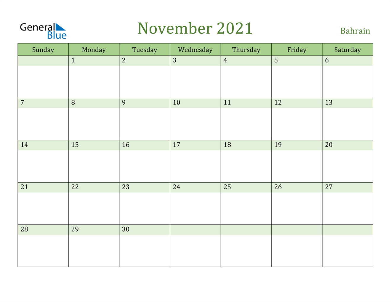 November 2021 Calendar - Bahrain