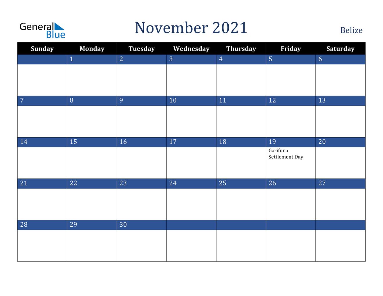 November 2021 Calendar - Belize