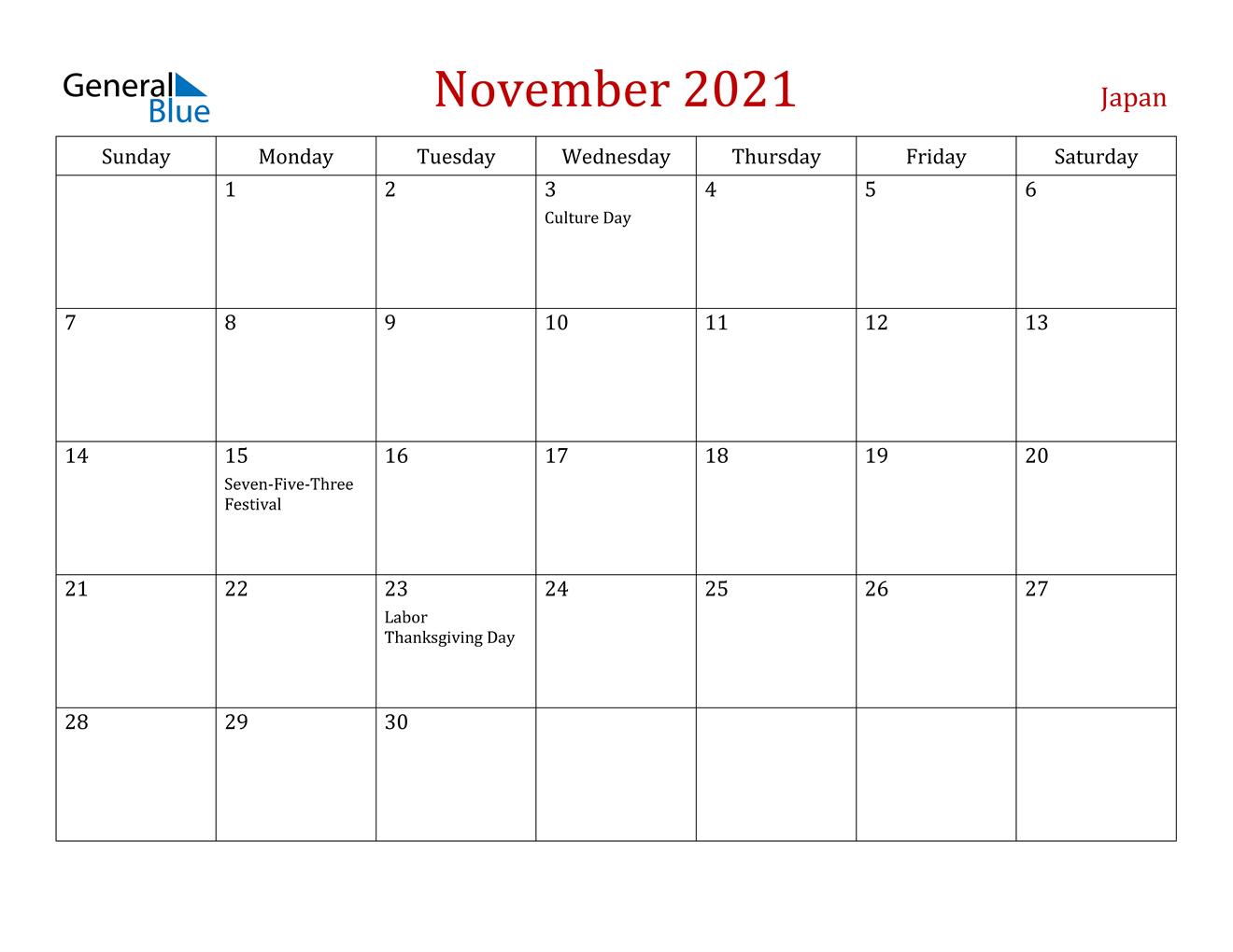 November 2021 Calendar - Japan