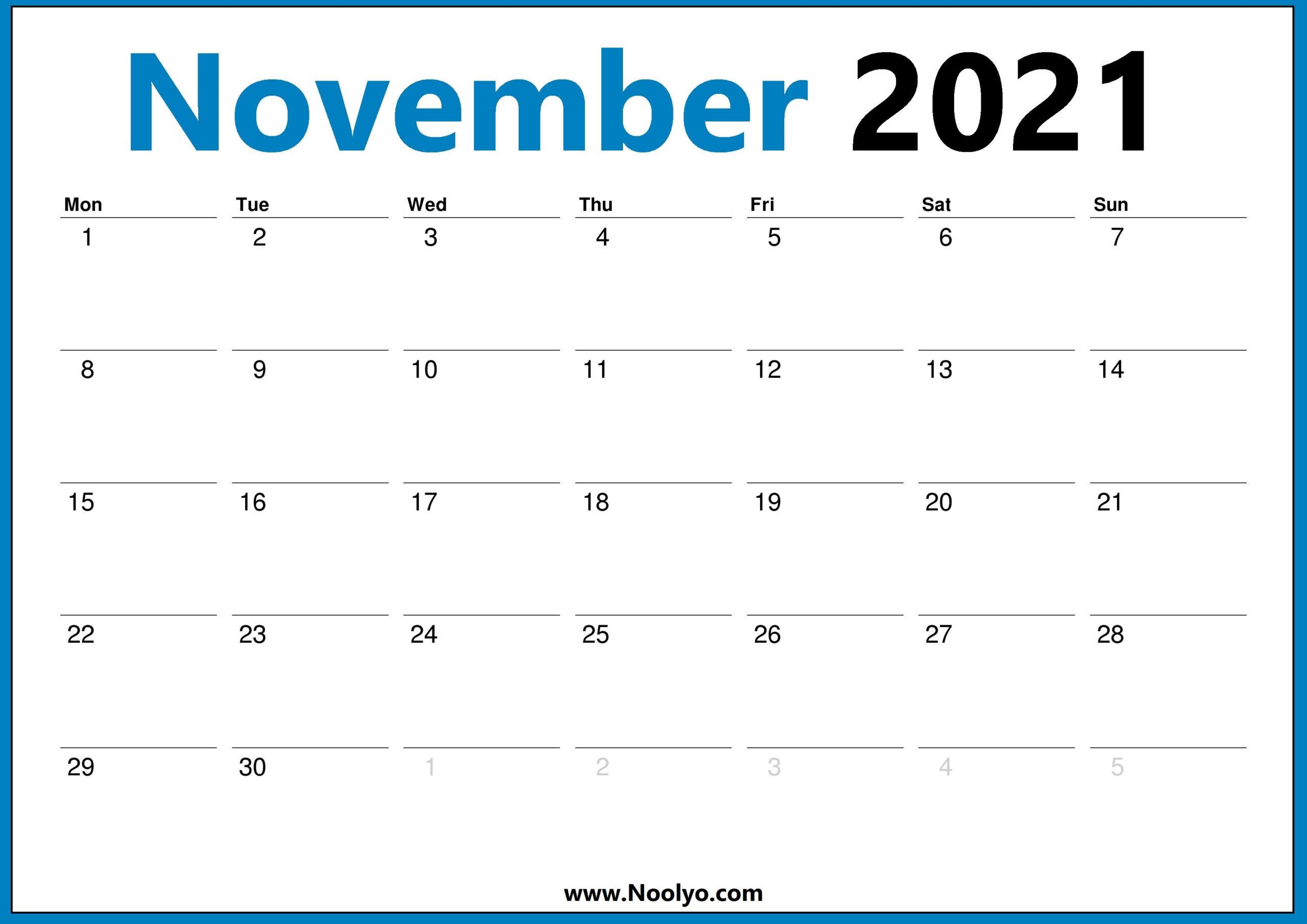 November 2021 Calendar Monday Start Hd - Noolyo