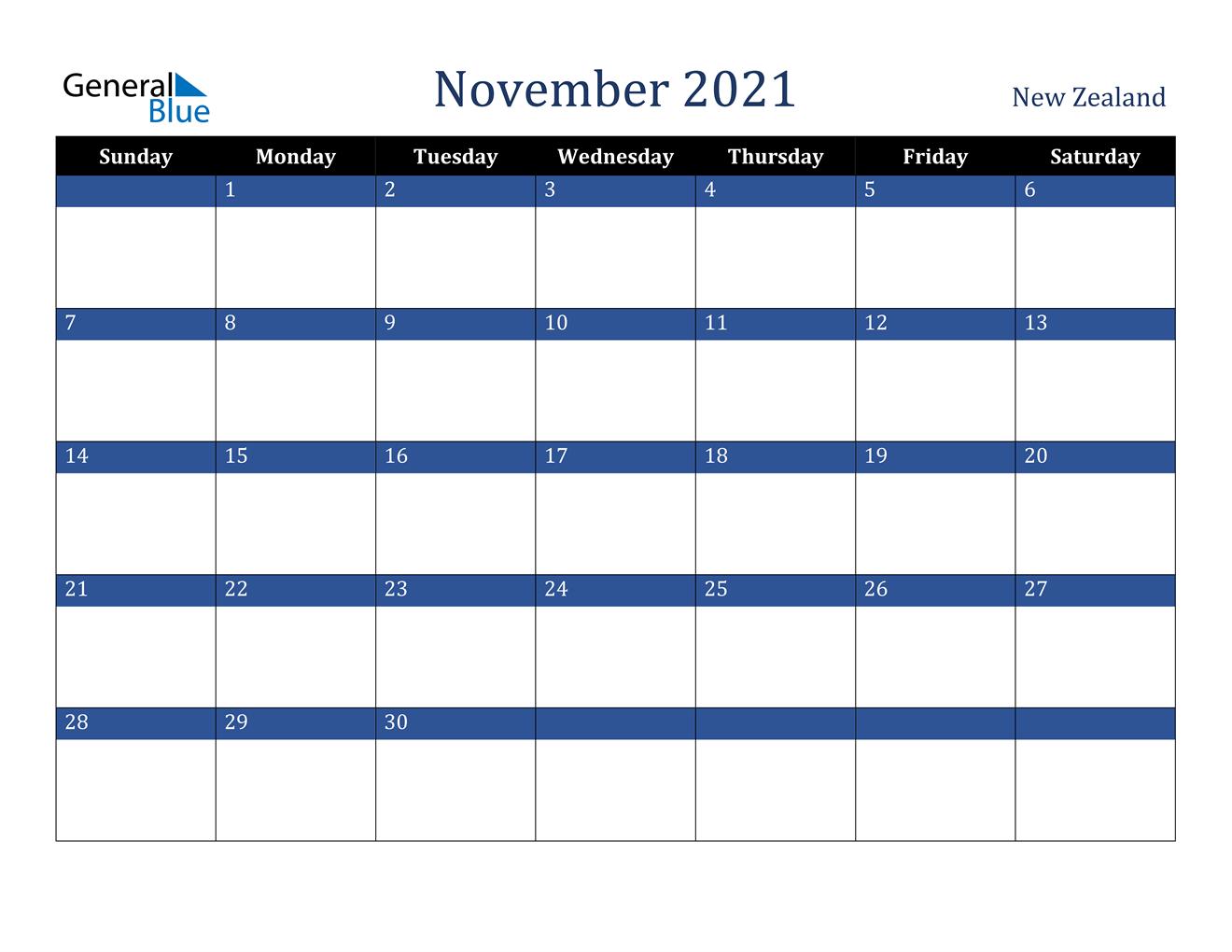 November 2021 Calendar - New Zealand