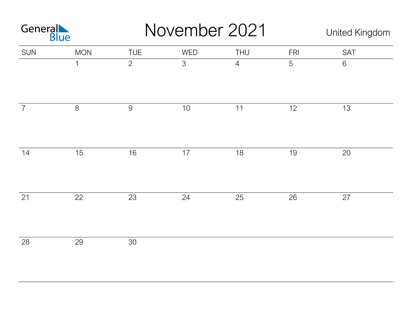 November 2021 Calendar - United Kingdom