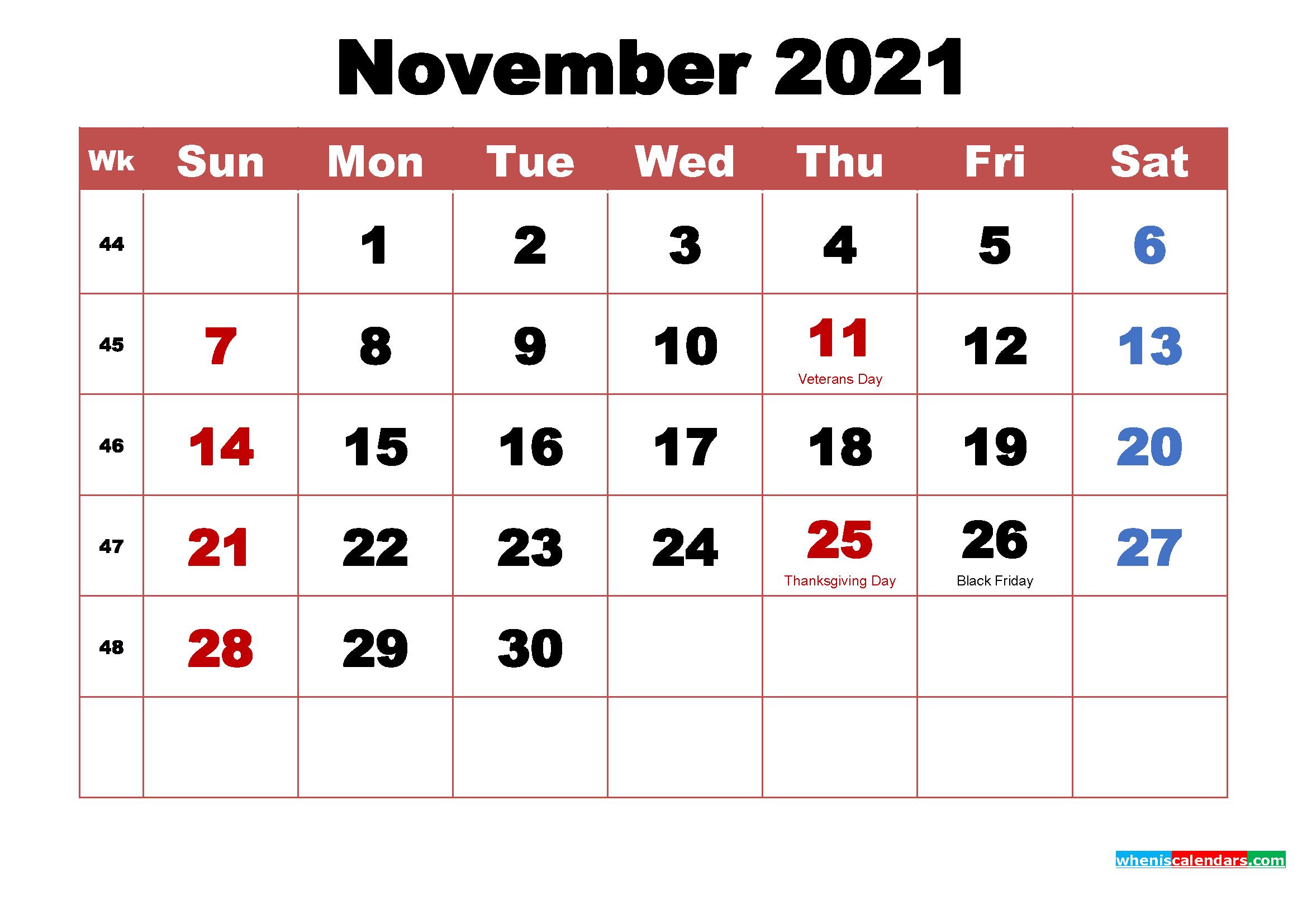 November 2021 Calendar With Holidays | 2021 Printable