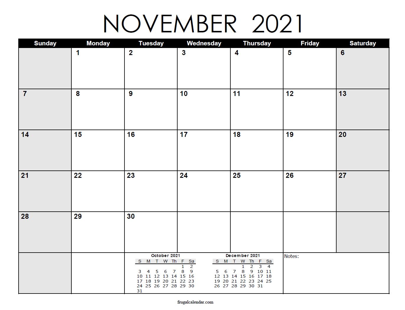November   2021 Calendars Printable