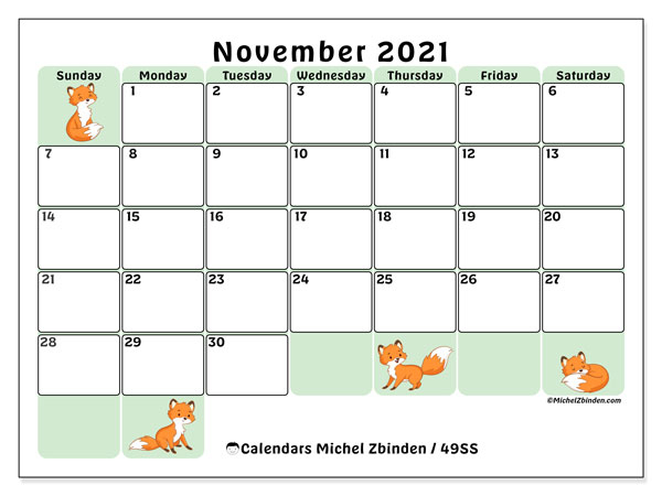 November 2021 Calendars - Ss - Michel Zbinden En