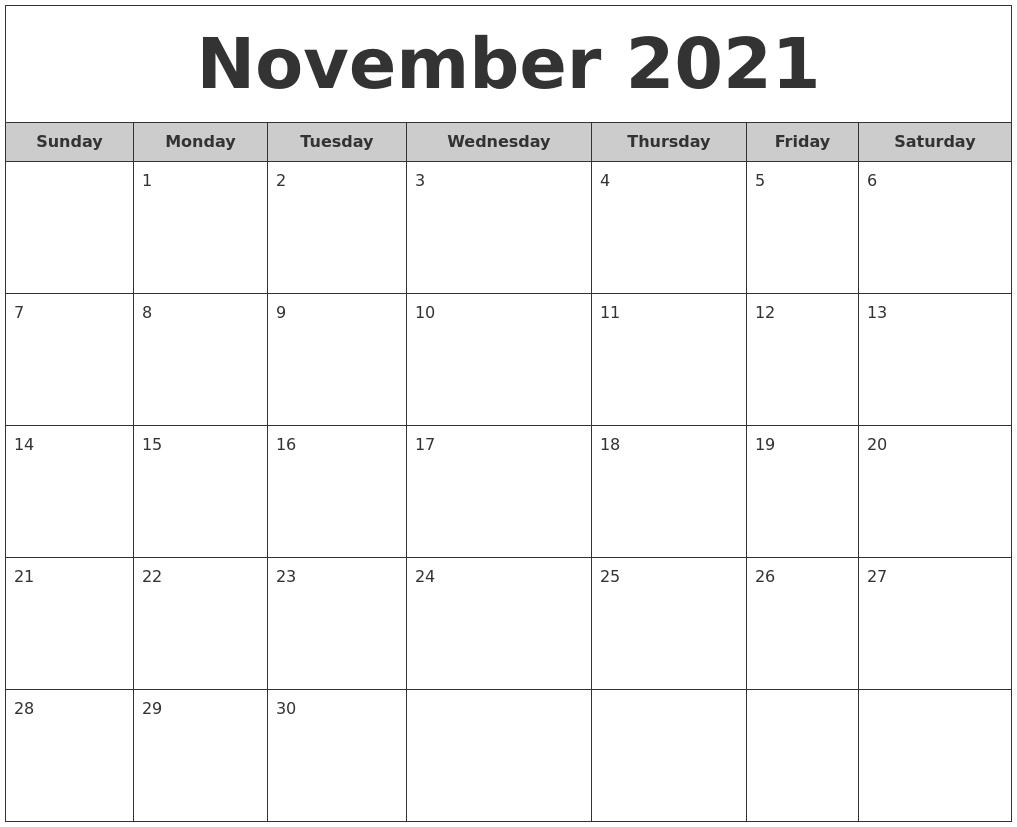 November 2021 Free Monthly Calendar
