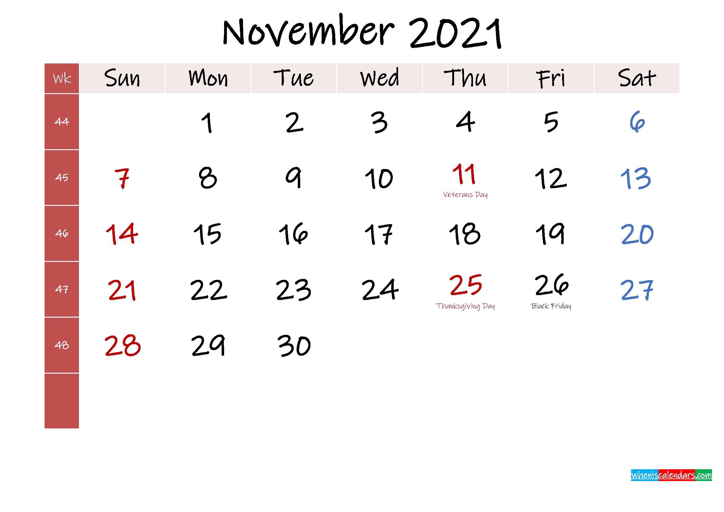 November 2021 Free Printable Calendar - Template No.ink21M371