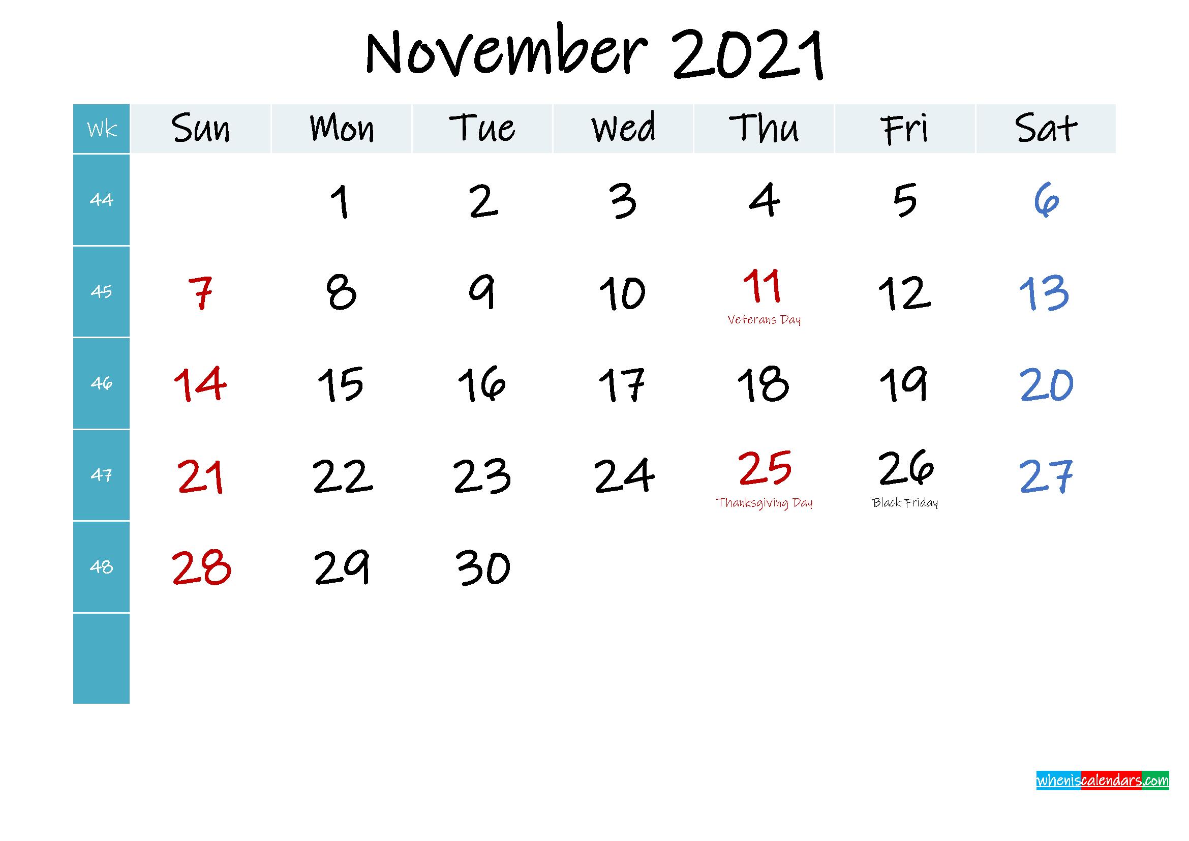 November 2021 Free Printable Calendar - Template No.ink21M407