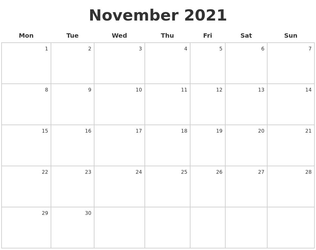 November 2021 Make A Calendar