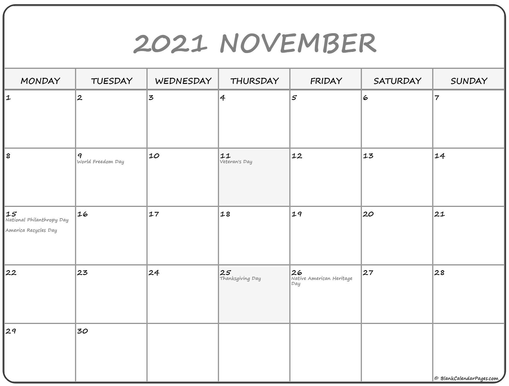 November 2021 Monday Calendar Monday To Sunday - Calendar