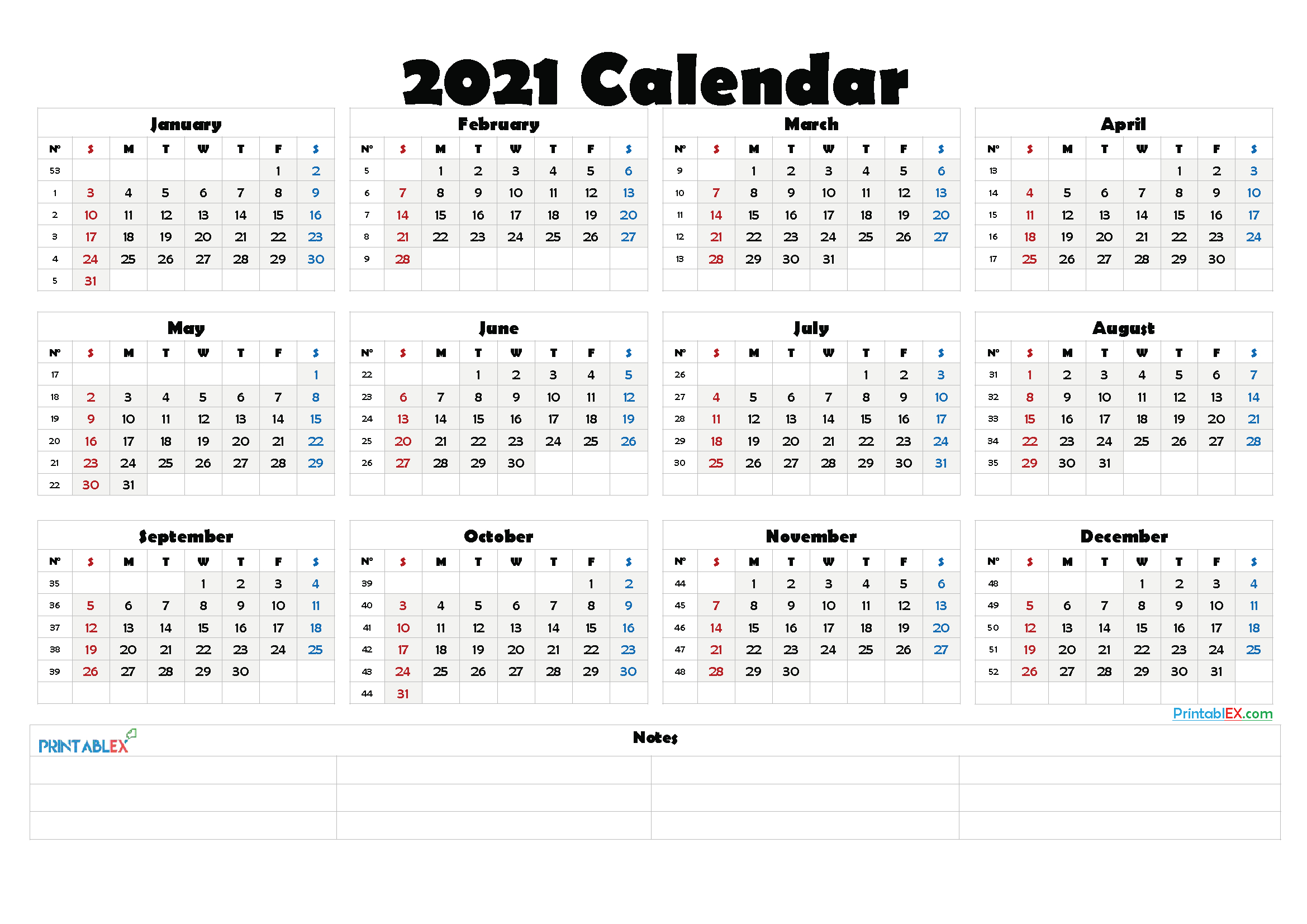 Numbered Week Calendar 2021   Calendar 2021