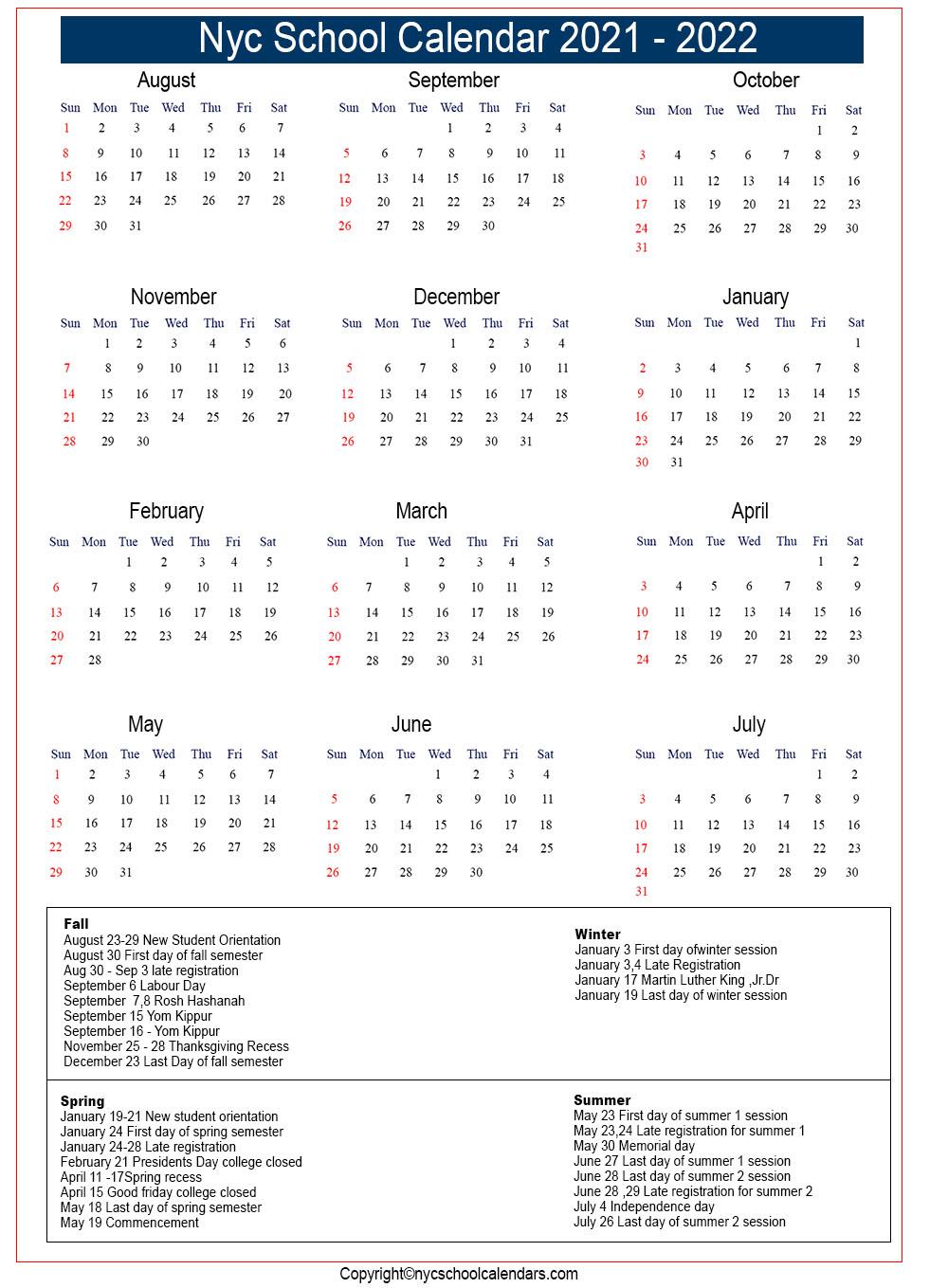 Nyc Doe Calendar 2021 Pdf   Printable March