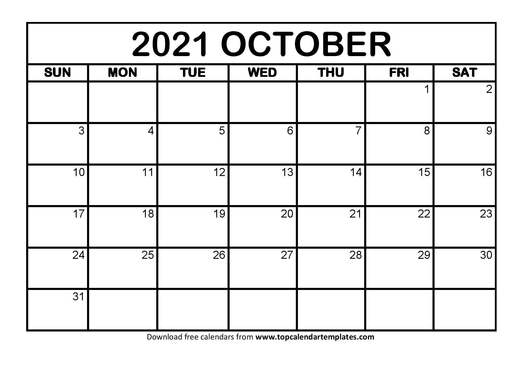October 2021 Calendar Editable Printable | Monthly Calendar