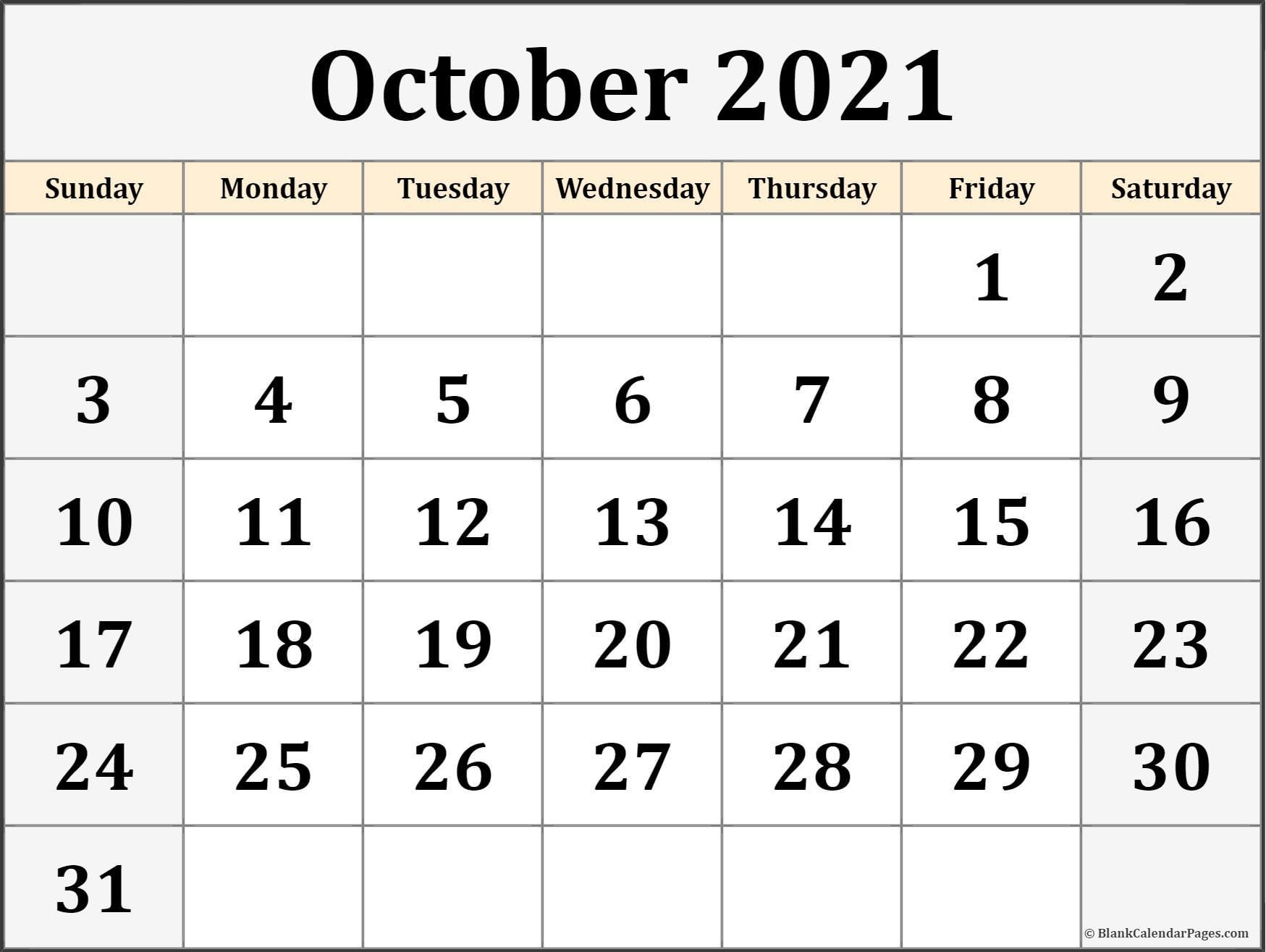 October 2021 Calendar   Free Printable Calendar Templates