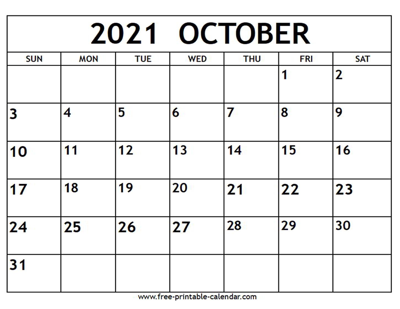 October 2021 Calendar - Free-Printable-Calendar