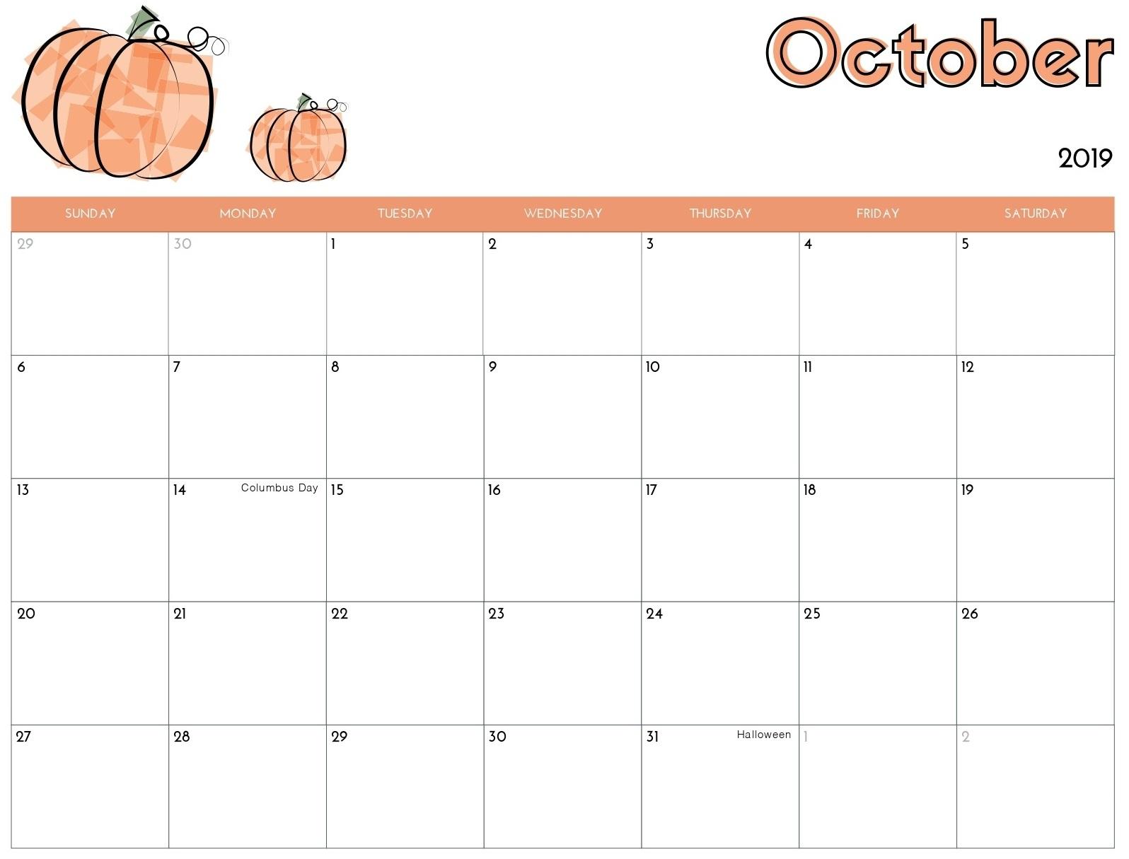 Online Calendar For October 2019 Template   Magic Calendar