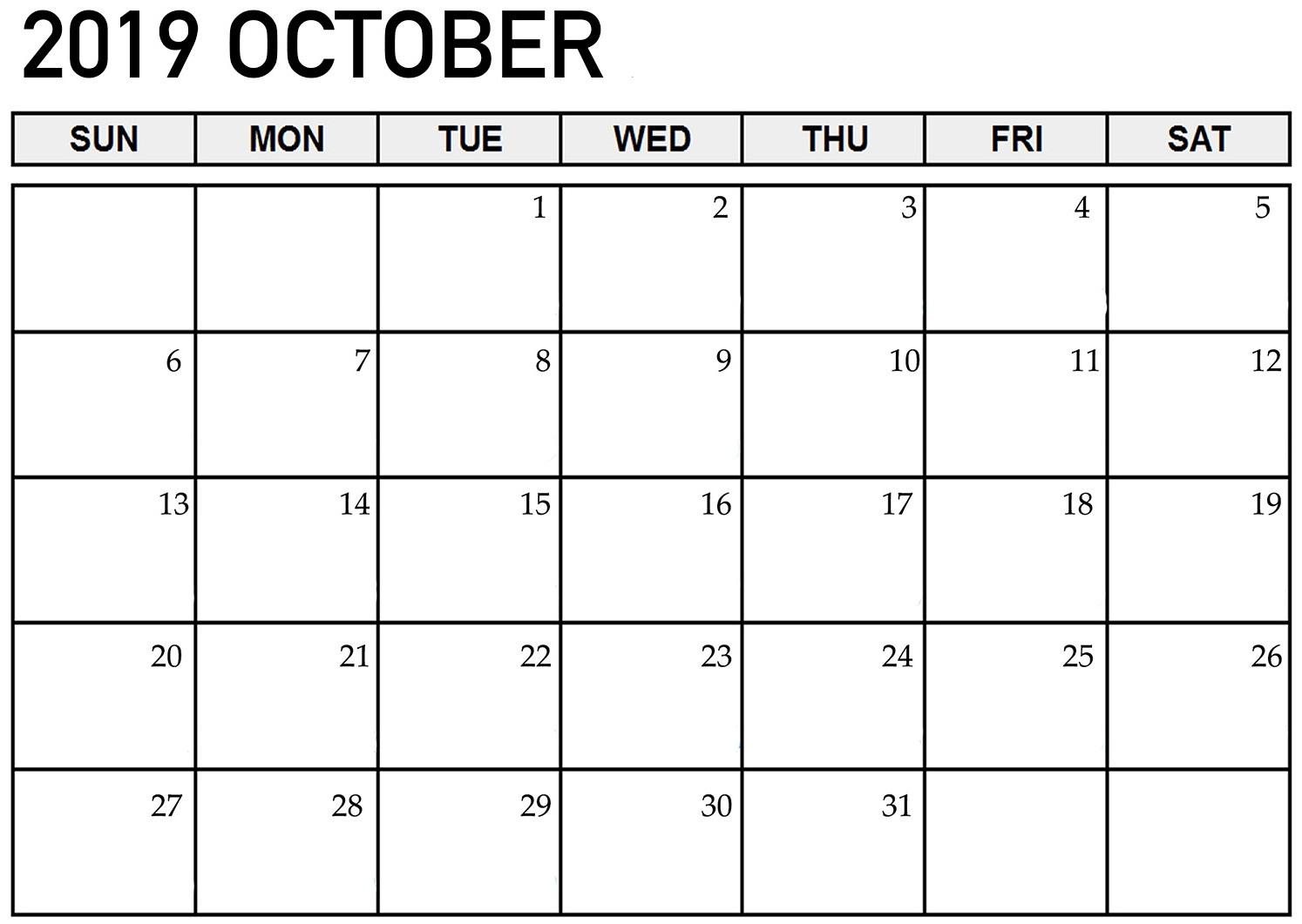 Online October 2019 Calendar Printable Sheet - 2019