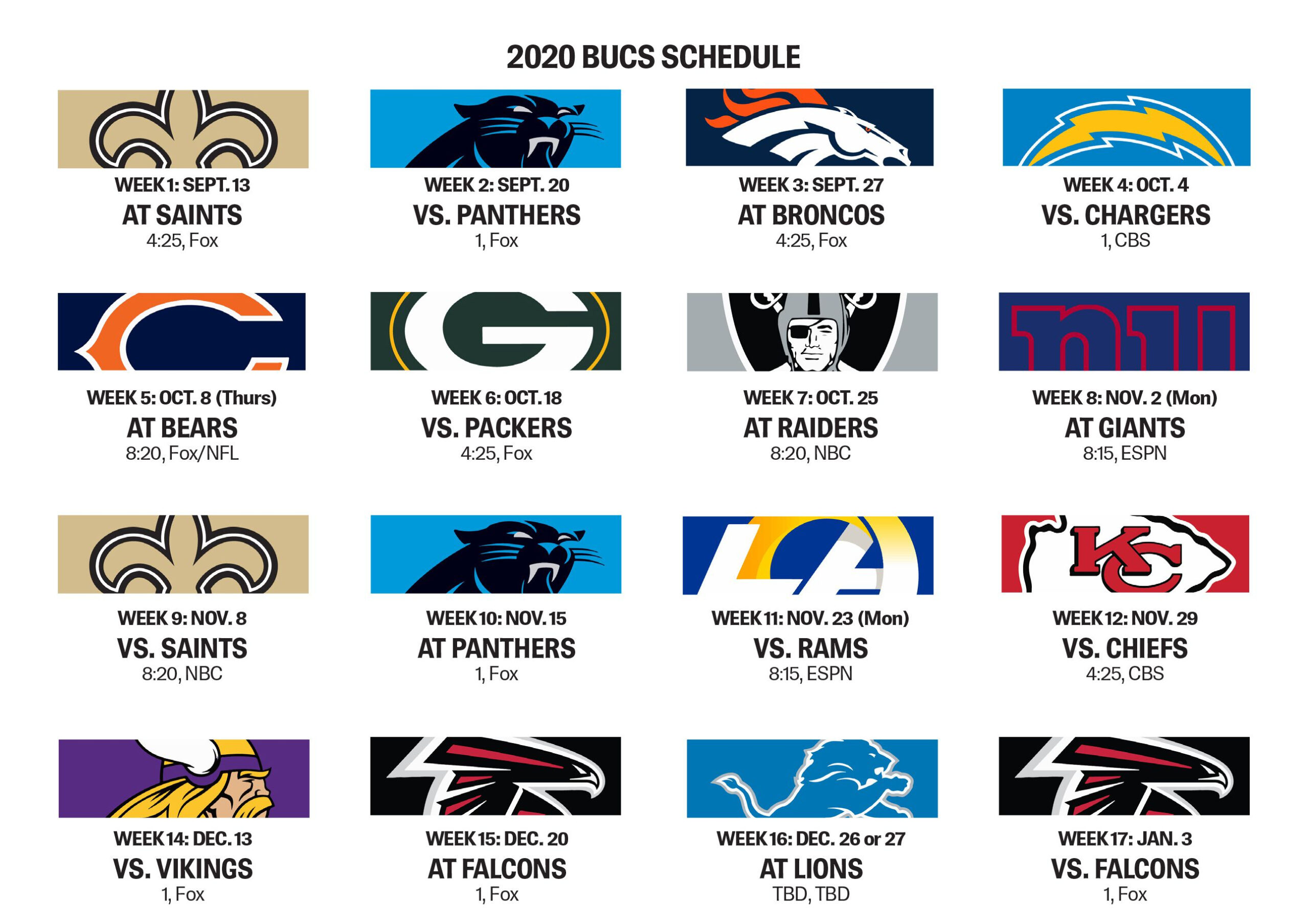 Packers Schedule 2020 Printable : Bucs Open With Saints