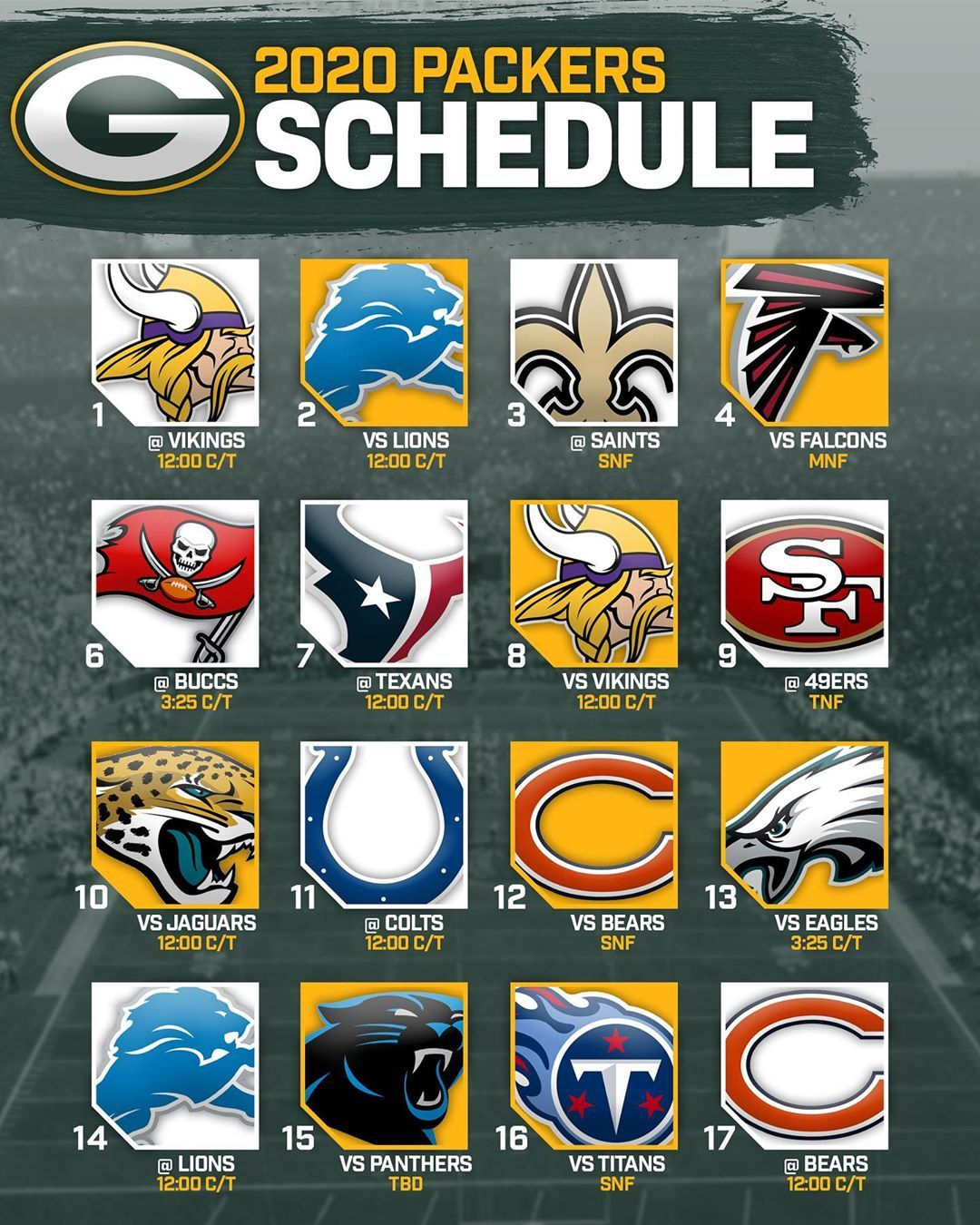 Packers Schedule 2020 Printable : Packers Announce 2019
