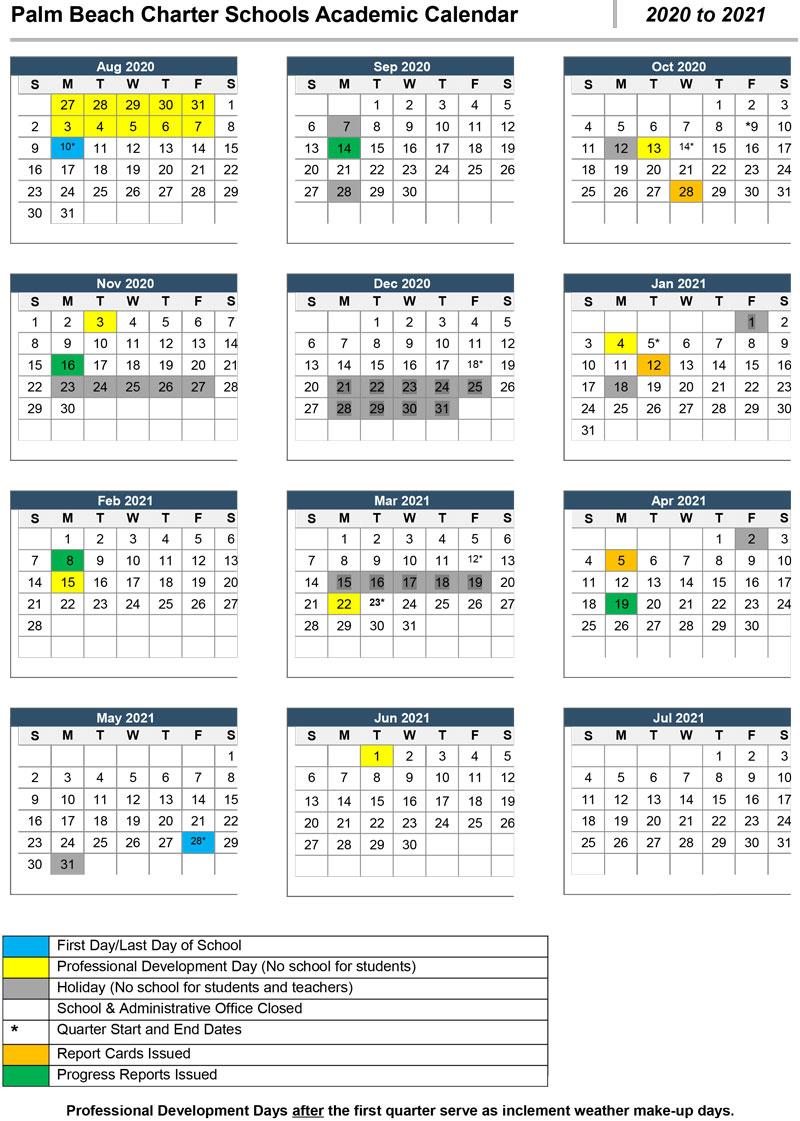 Palm Beach County School Calendar 2020 2021 | Printable