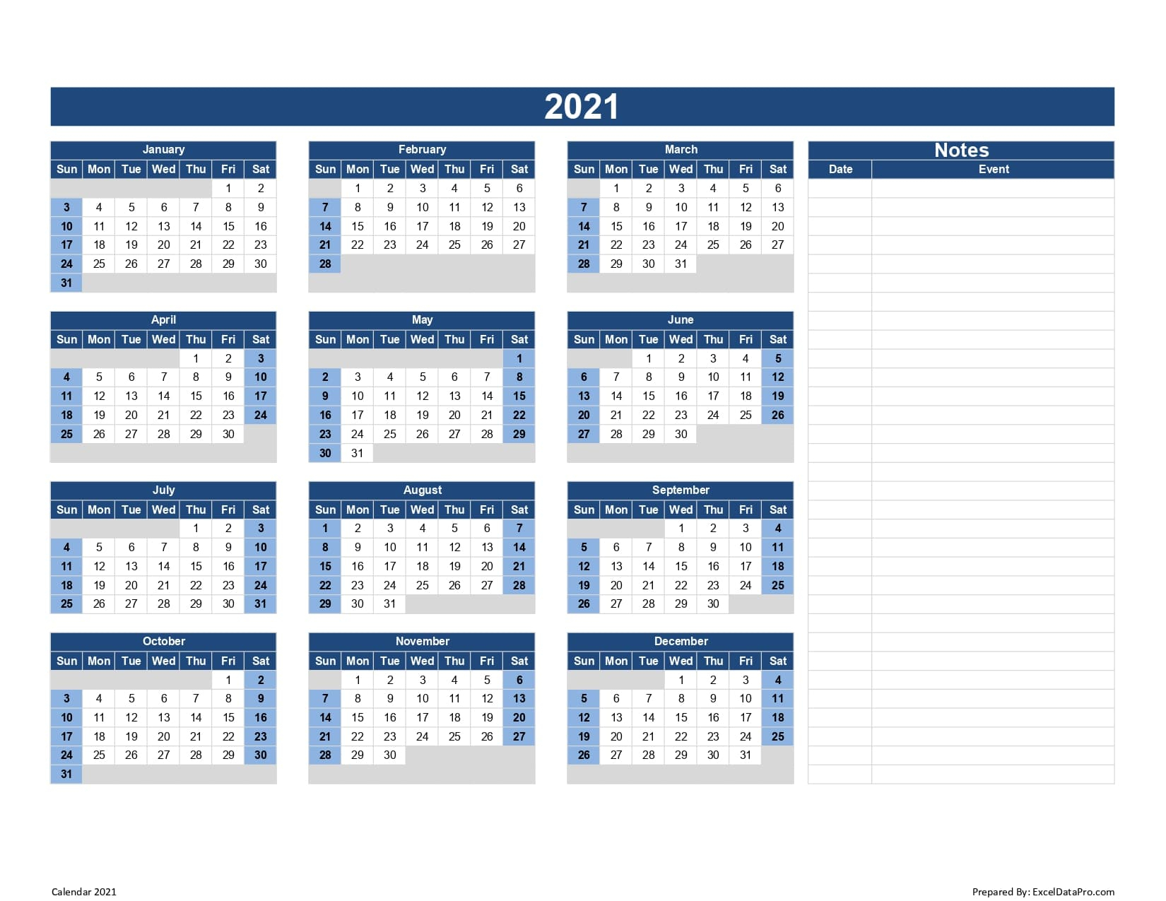 Payroll Calendar 2021 Excel - Printablecalendarsfor2021