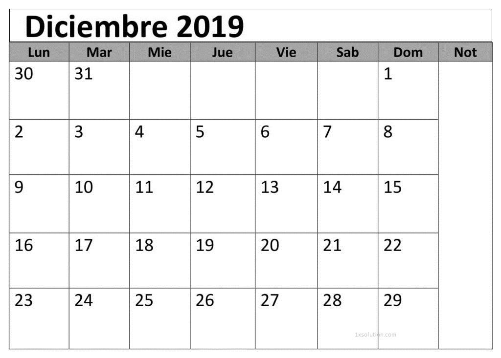 Pdf Calendario Diciembre 2019 Para Imprimir     Calendar