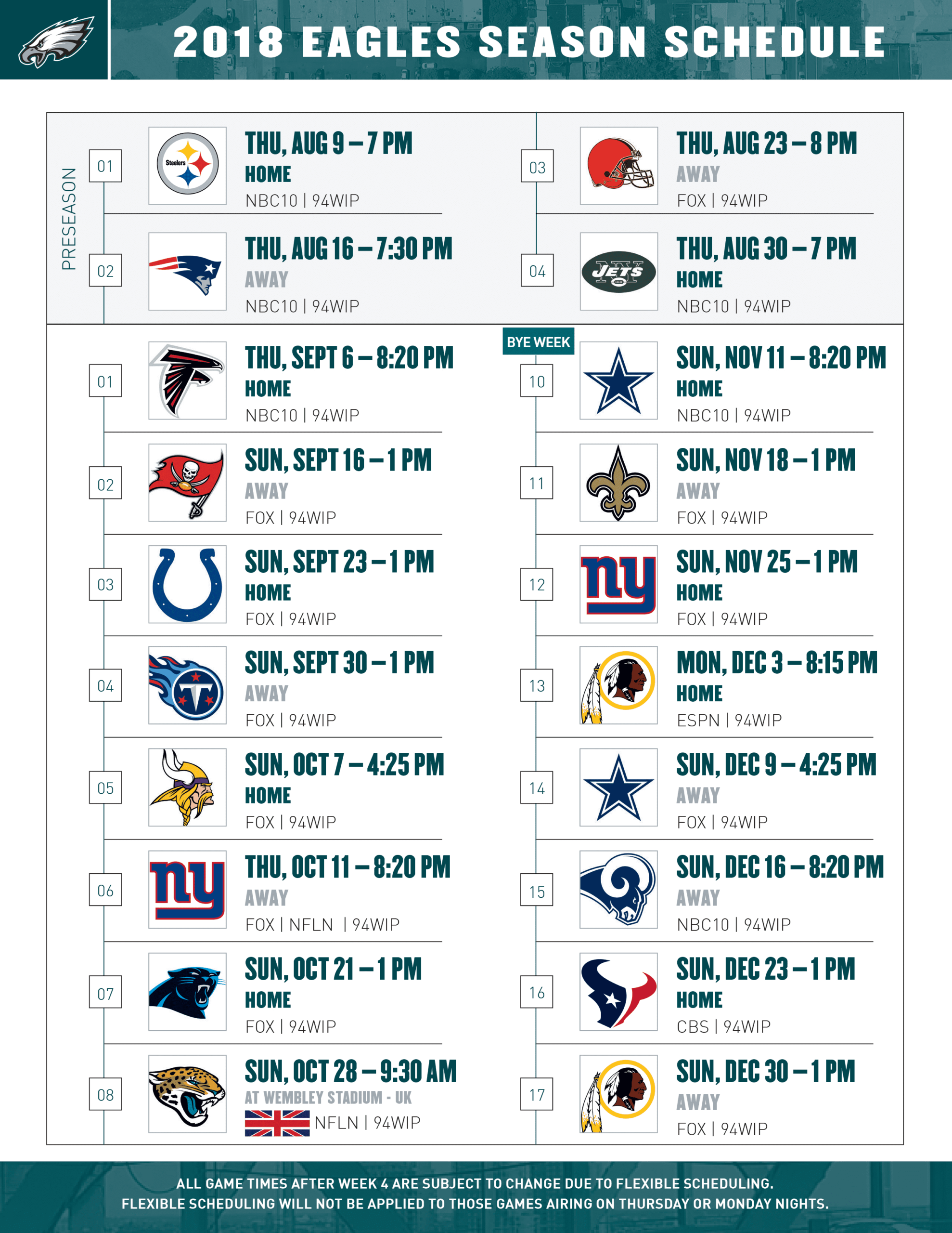 Philadelphia Eagles Schedule For 2019 And 2020 - Donald
