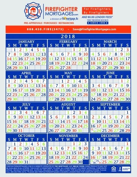 Phoenix Fire Department Shift Calendar   Printable