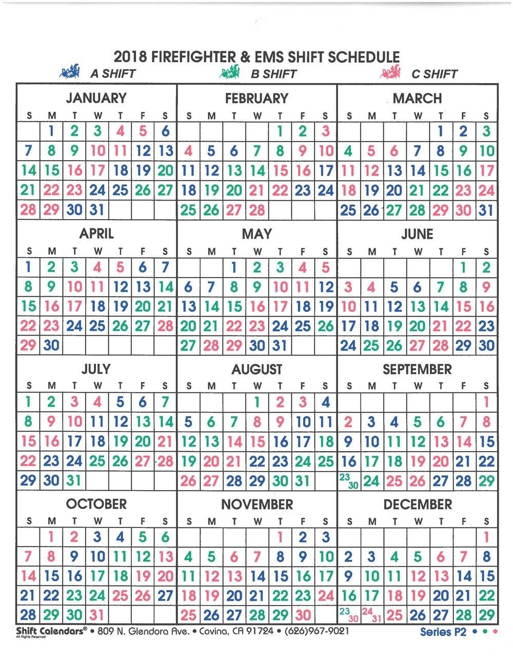 Phoenix Fire Shift Calendar 2020 - Template Calendar Design