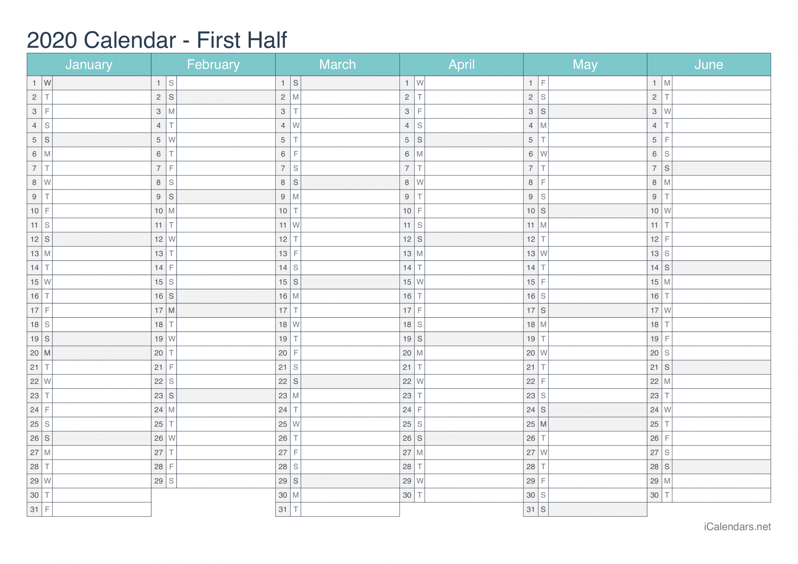 Pick Free Half Page Calendar 2020 Printable | Calendar