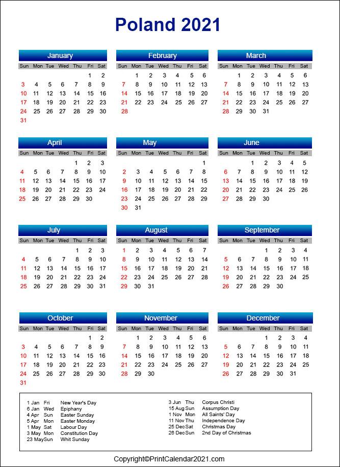 Poland Holidays Calendar 2021