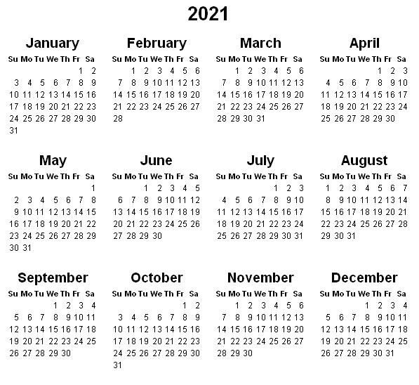 Print Yearly Calendar 2021 Free Template In 2020 | 2021