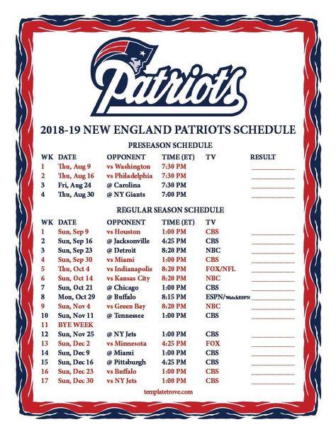 Printable 2018-2019 New England Patriots Schedule   New