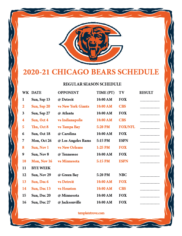 Printable 2020-2021 Chicago Bears Schedule