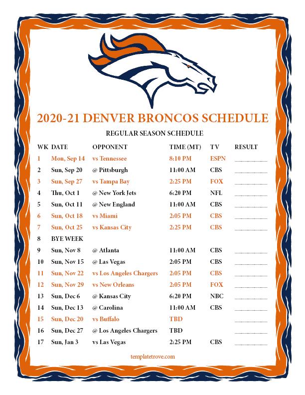 Printable 2020-2021 Denver Broncos Schedule