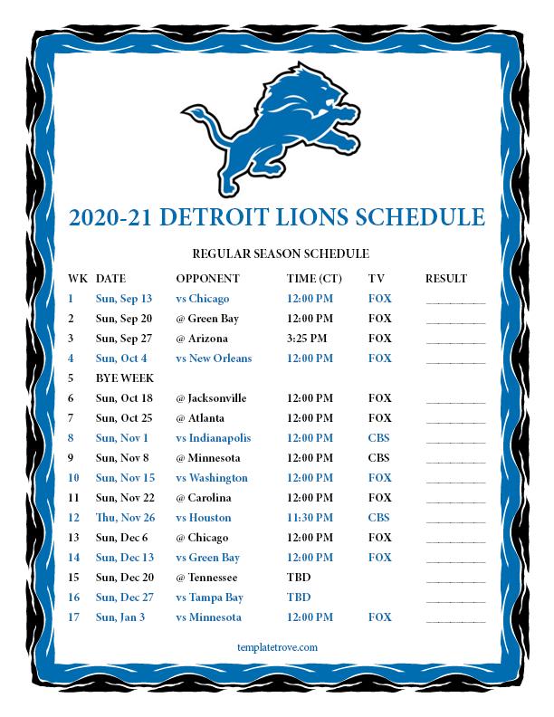 Printable 2020-2021 Detroit Lions Schedule