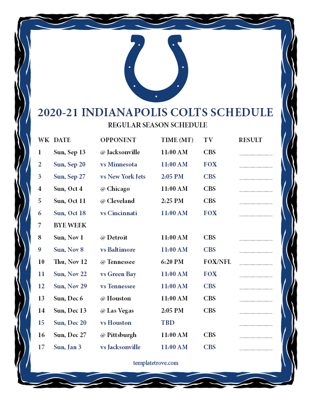 Printable 2020-2021 Indianapolis Colts Schedule
