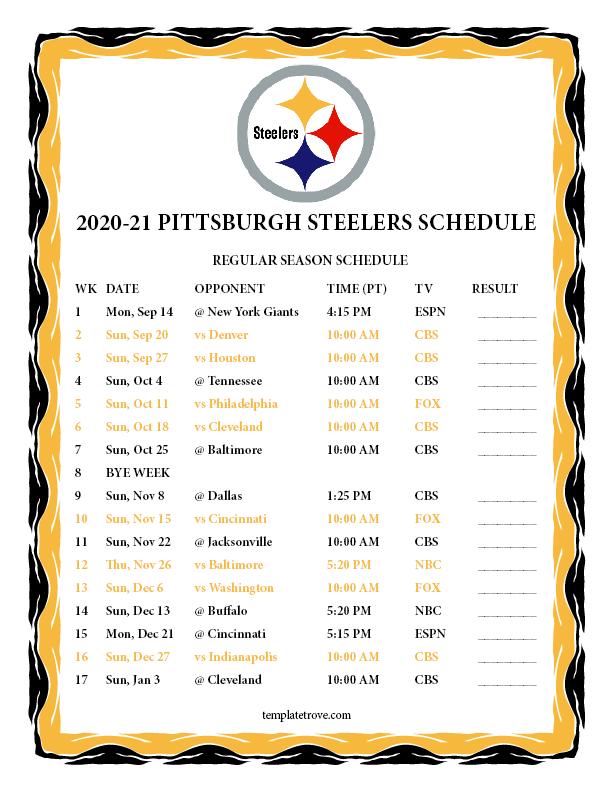 Printable 2020-2021 Pittsburgh Steelers Schedule
