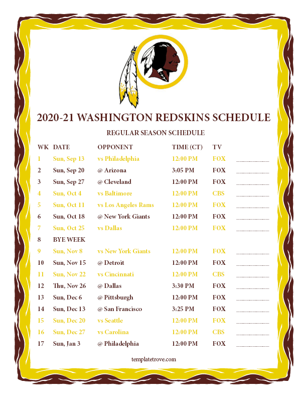 Printable 2020-2021 Washington Redskins Schedule